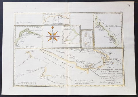 1780 Bonne Original Antique Map of 7 Maps Papua New Guinea, New Ireland Pacific