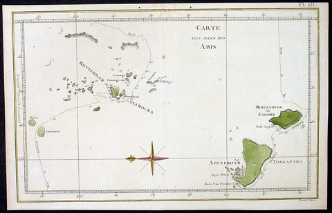 1780 Cook Benard Antique Map of the Tongan Islands, South Pacific