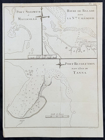 1778 Capt. Cook Antique Maps of Maleku, Tanna Vanuatu & New Caledonia, Cook 1774