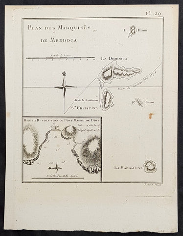 1778 Capt. Cook Antique Map of Marquesas Islands, Hiva Oa & Tahuata Cook in 1774
