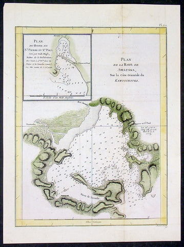 1785 Capt. Cook Antique Map Avacha Bay, Petropavlovsk, Kamchatka, Russia in 1779