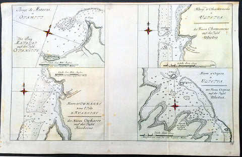 1774 Cook Antique Maps Tahiti, Raiatea & Huaheine Isles French Polynesia in 1769