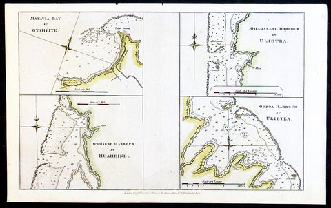 1784 Anderson Antique Map Capt Cook Exploration of the Society Islands in French Polynesia