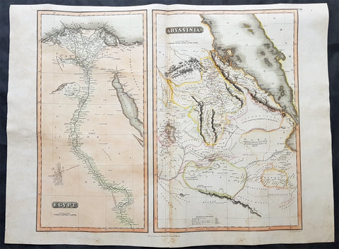 1817 John Thomson Large Original Antique Map of Egypt, Abyssinia, The Nile River