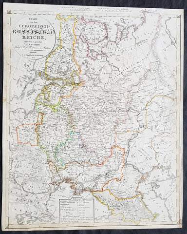 1829 Friedrich Wilhelm Streit Large Antique Map of European Russia