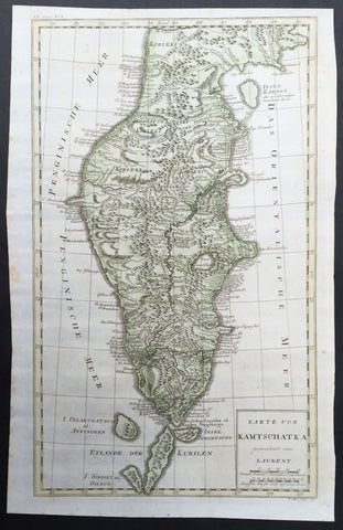 1771 Bellin Large Original Antique Map of The Kamchatka Peninsula Eastern Russia