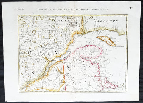 1778 Zatta Original Antique Map Nova Scotia, St Lawrence River, Ontario, Canada