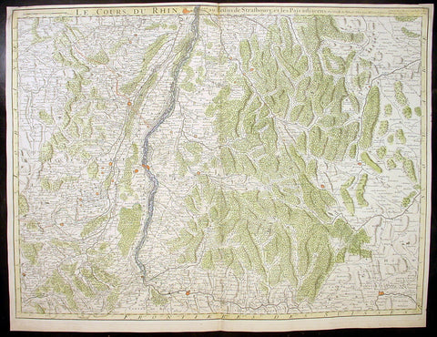 1704 Delisle Large Antique Map Rhine River, Alsace, France & Germany