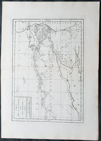 1769 J B D Anville Original Antique Map of Egypt & The Nile in Time of Pharaohs