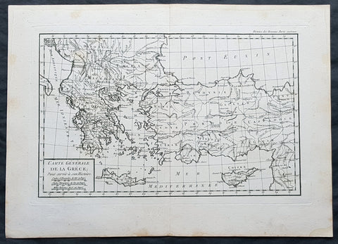 1769 J B D Anville Original Antique Map of Greece Crete Macedonia Turkey Cyprus