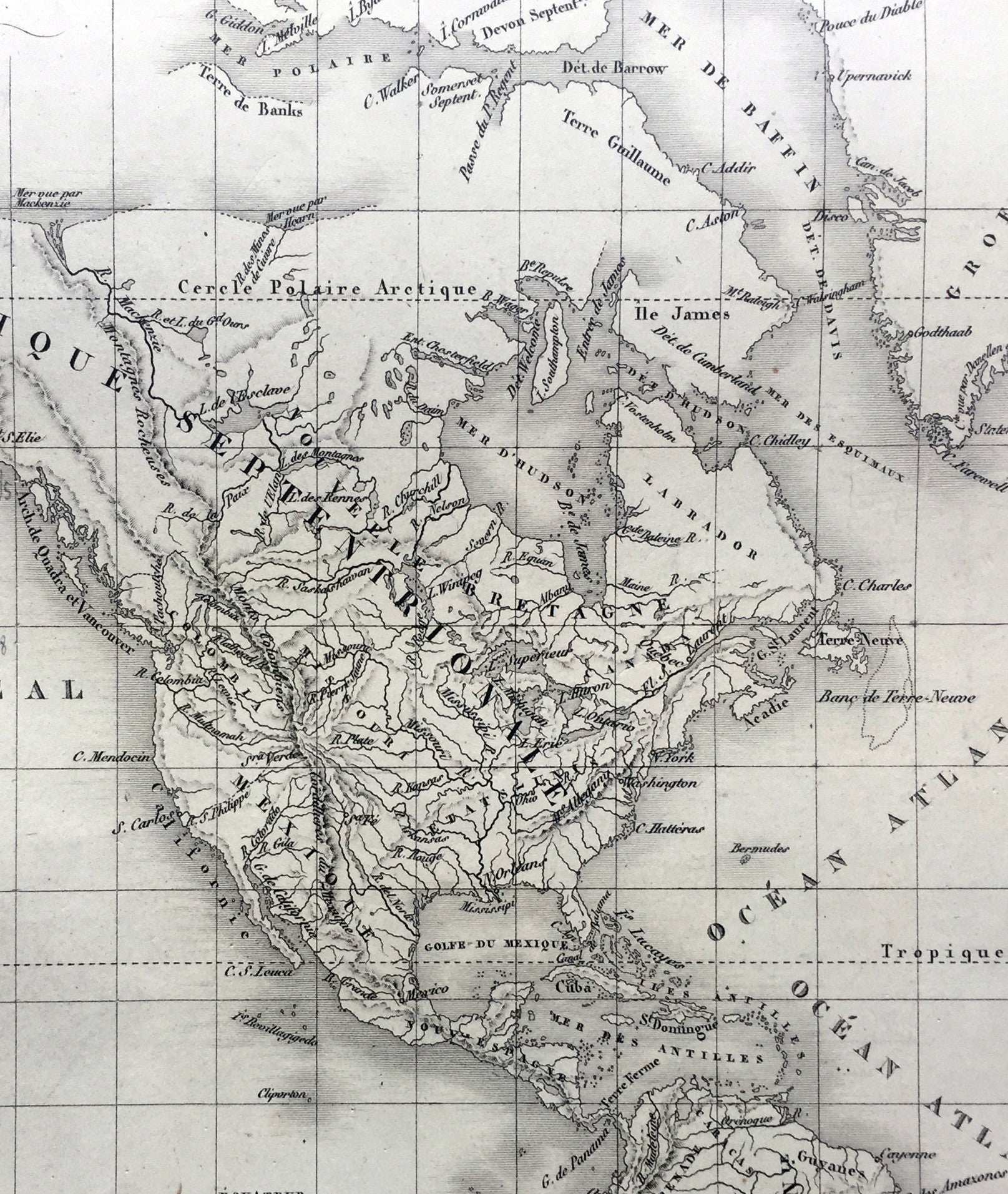 1821 Brue Large Antique World Map Of Mercators Projection New