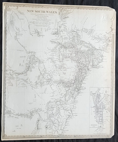 1833 SDUK Original Antique Early Map of New South Wales Australia inset Plan of Sydney Town