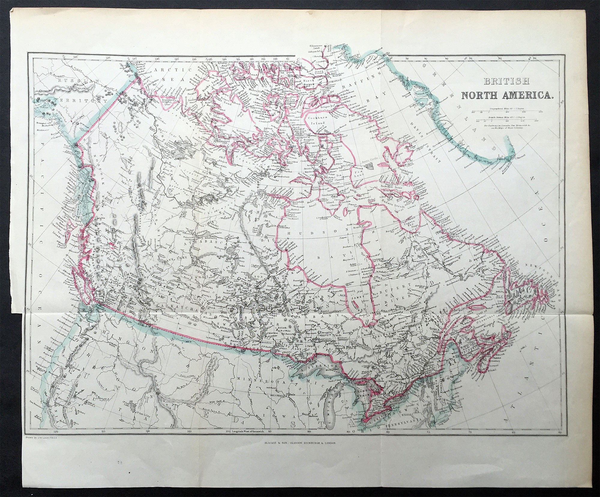 Blackie  Son Map British North America Canada  The Great - Map of america 1860