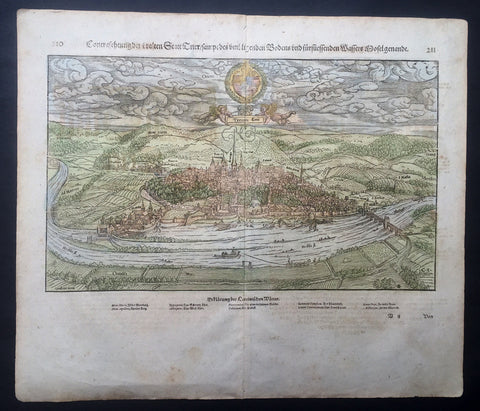 1628 Munster Antique Map - City View of Trier Rhineland-Palatinate, Germany