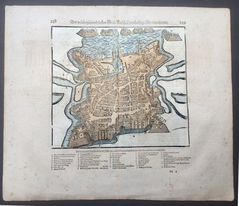 1628 Munster Antique Map - French City View of La Rochelle, Protestant Huguenots