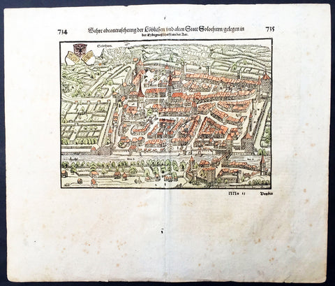 1628 Sebastian Munster Old, Antique Print View of City of Solothurn, Switzerland