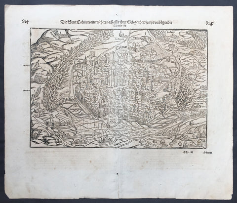 1628 Munster Large Antique Print View of The City of Colmar, Alsace, France