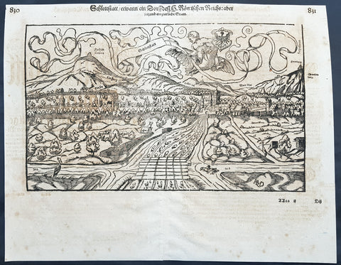 1628 Sebastian Munster & RMD Antique Map Selestat or Schlettstadt Alsace, France