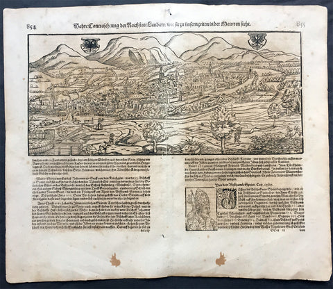 1598 Munster Antique Map a View of the German City of Landau, Munich, Bavaria