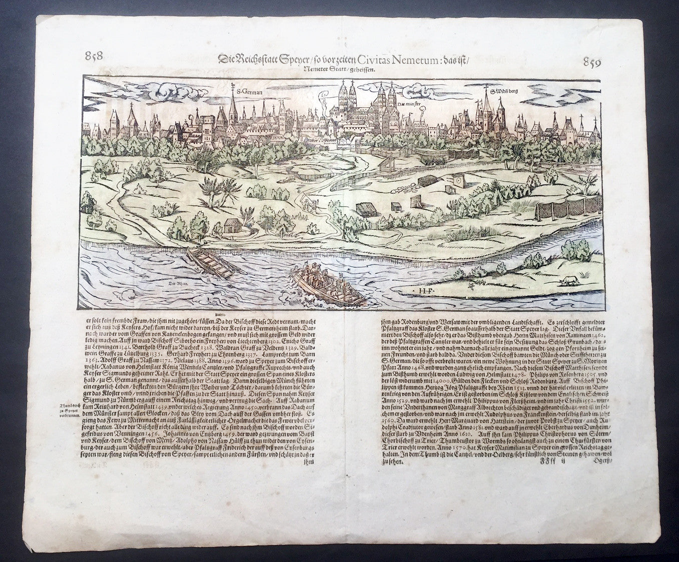 1628 Munster Antique Map City View Of Speyer In Rhineland