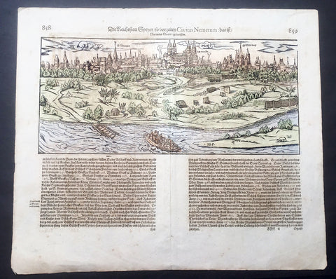 1628 Munster Antique Map - City View of Speyer in Rhineland-Palatinate, Germany