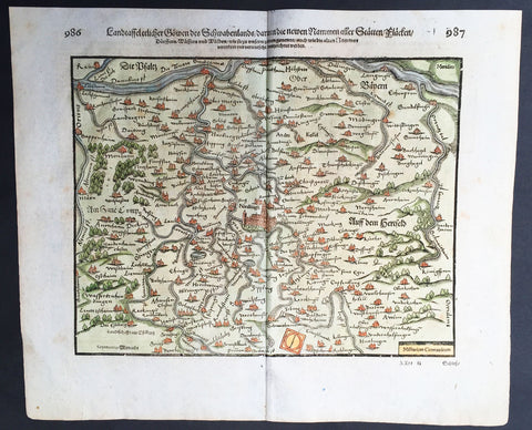 1628 Seb. Munster Antique Map of Swabia, Bavaria, Germany - Danube, Nordlingen