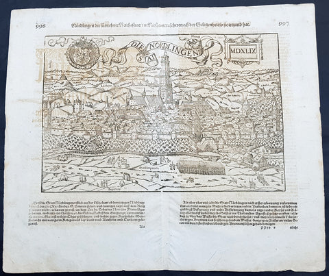 1628 Sebastian Munster & RMD Antique Map View Nordlingen Swabia, Bavaria Germany