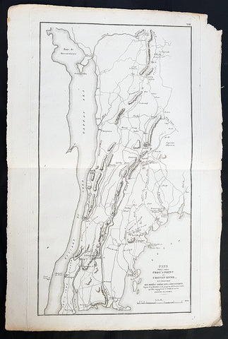 1807 John Marshall Antique Map Battle of Pells Point in The Bronx, NYC in 1776