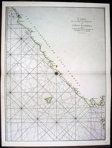 1745 Mannevillette Large Antique Map of Sumatra Coastline of Indonesia