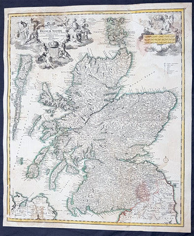 1720 JB Homann Large Antique Map of Scotland