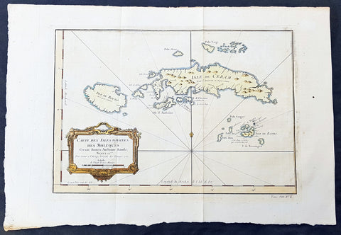 1750 Bellin Original Antique Map The Maluku or Moluccas, Spice Islands Indonesia