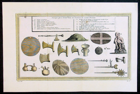 1755 Bellin Prevost Antique Print of Artifacts, Weapons, Axes, Pyramid of Peru