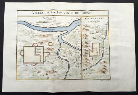 1747 Bellin Antique Large Map Plan of Taiyuan in the Province of Shanxi, China
