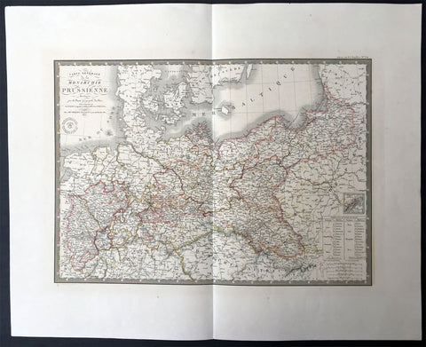 1836 Brue Very Large Antique Map of Prussia - Poland To Germany