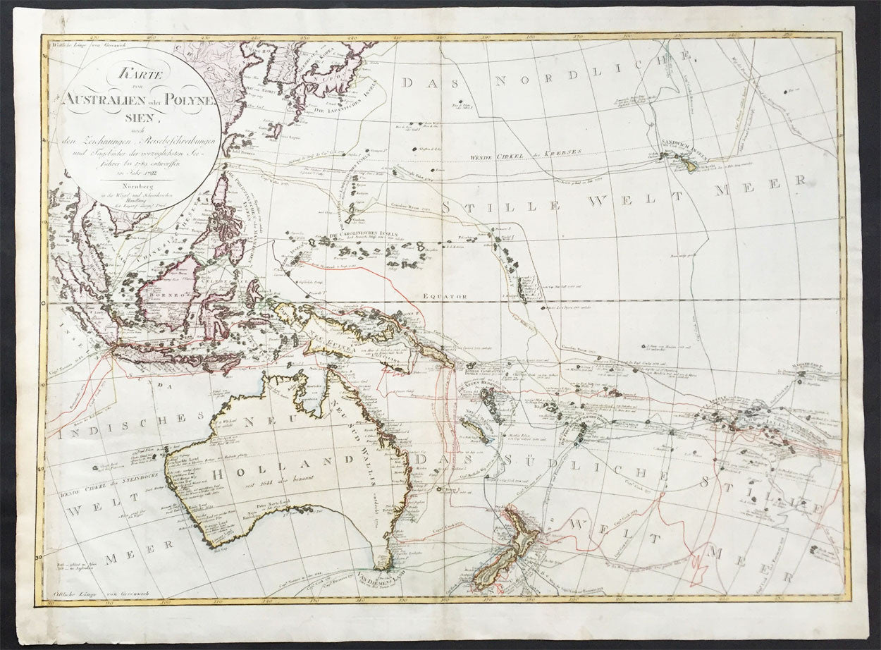 1792 weigel schneider large old antique map of oceania 1792 weigel schneider large old antique map of oceania australia to hawaii gumiabroncs Images