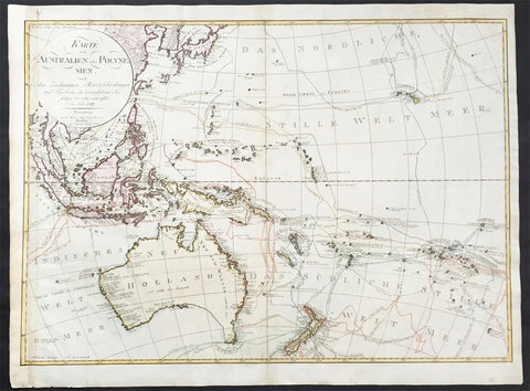 1792 Weigel & Schneider Large Old, Antique Map of Oceania, Australia to Hawaii