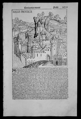 1493 Schedel Antique Pictorial View of England - London - Anglie Provincia