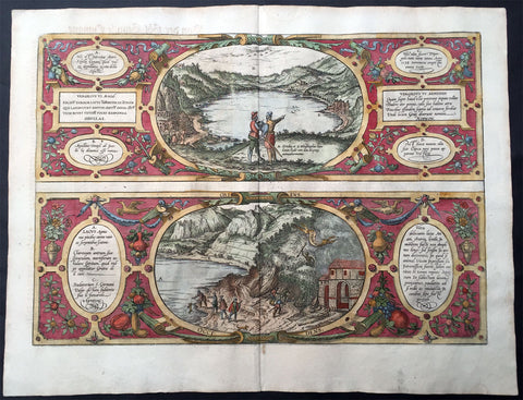 1572 Braun & Hogenberg Antique Print View Lake Agnano Cave of Dogs Naples, Italy