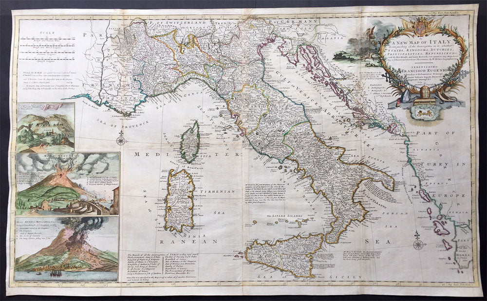 Large Map Of Italy.1714 Moll Large Antique Map Of Italy
