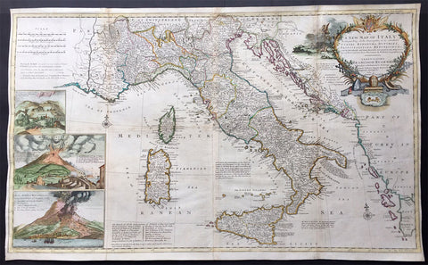 1714 Moll Large Antique Map of Italy