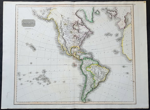1817 John Thomson Large Antique Map of North & South America, Hawaiian Islands