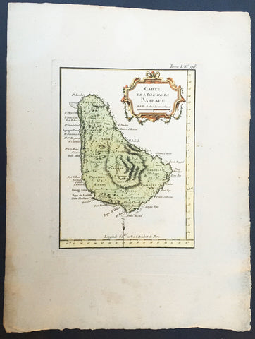 1755 Bellin Antique Map of The Island of Barbados