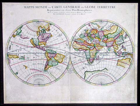 1678 Sanson Large Antique Twin Hemisphere World Map