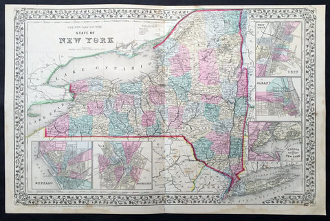 1870 Mitchell Large Antique Map of New York State