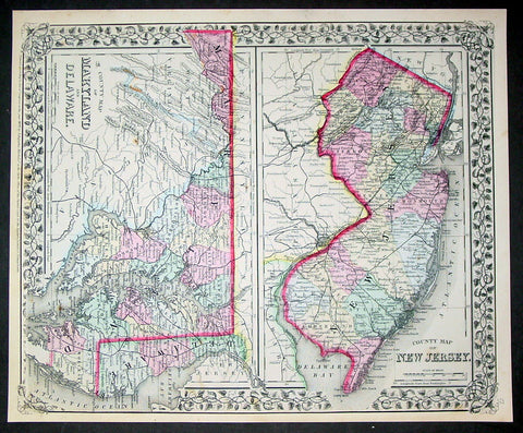1870 Samuel Augustus Mitchell County Antique Maps New Jersey, Maryland, Delaware