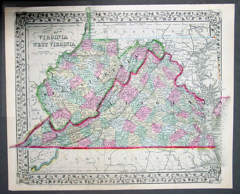 1870 Samuel Augustus Mitchell County Antique Map of Virginia & West Virginia