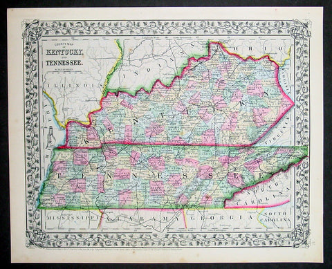 1870 Samuel Augustus Mitchell Antique County Map of Kentucky and Tennessee