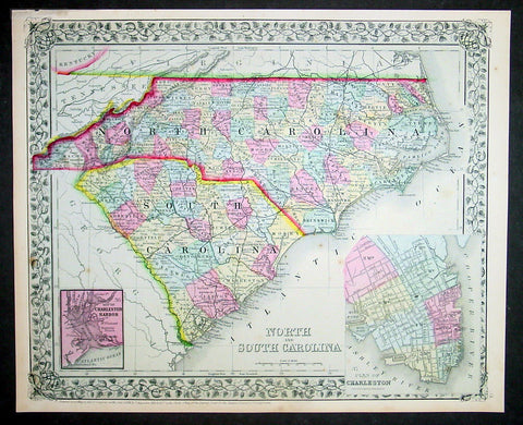 1870 S Augustus Mitchell Antique Map North & South Carolina
