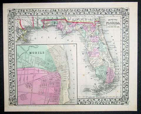 1870 Samuel Augustus Mitchell Antique County Map of Florida