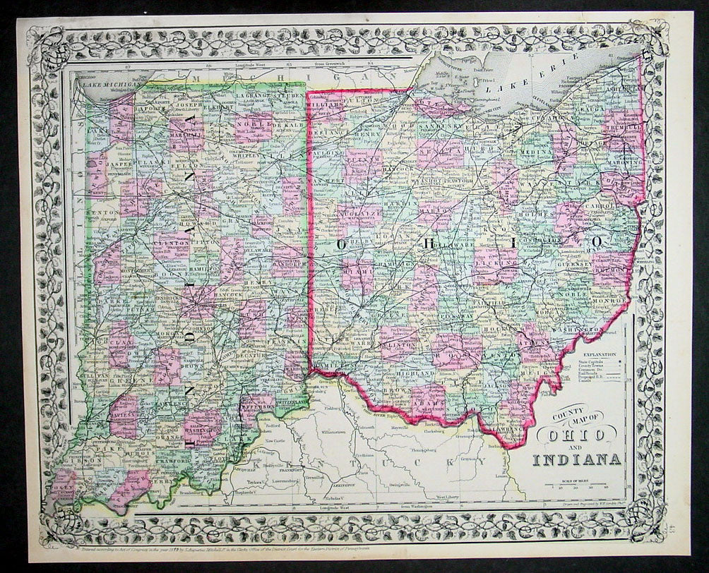 1870 Samuel Augustus Mitchell Antique County Map Of Ohio And Indiana Classical Images